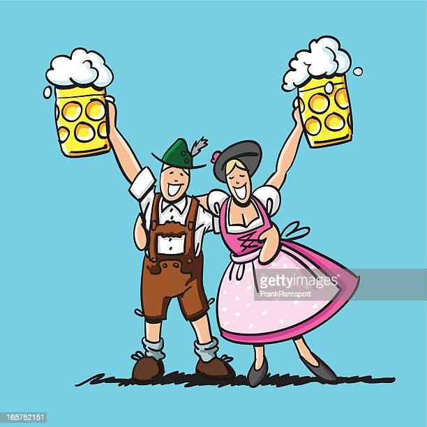 ilustrações, clipart, desenhos animados e ícones de cerveja oktoberfest casal feliz - roupa tradicional