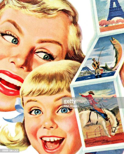 happy people with postcards - postcard stock illustrations, clip art, cartoons, & icons
