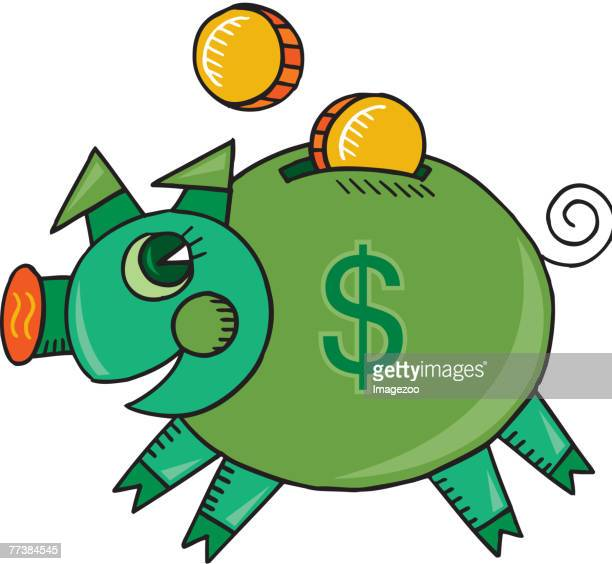 happy piggy bank - spending money stock illustrations, clip art, cartoons, & icons