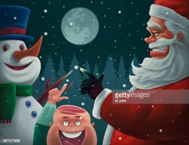 happy santa claus snowman and kid