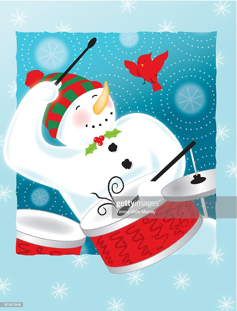 A happy snowman playing the drums : Stock Illustration