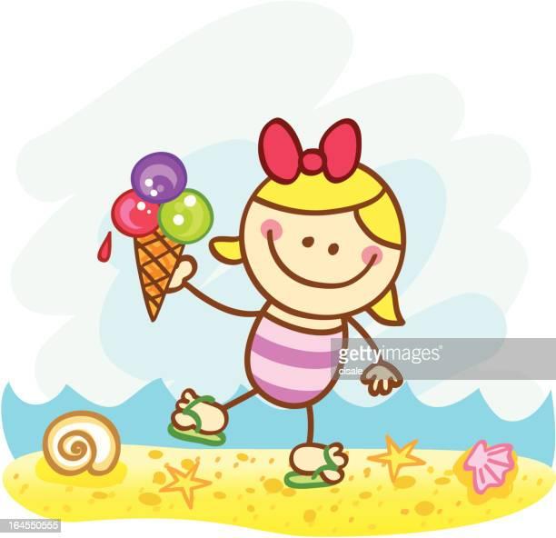 happy summer holiday girl with icecream at beach cartoon illustration - eating ice cream stock illustrations, clip art, cartoons, & icons