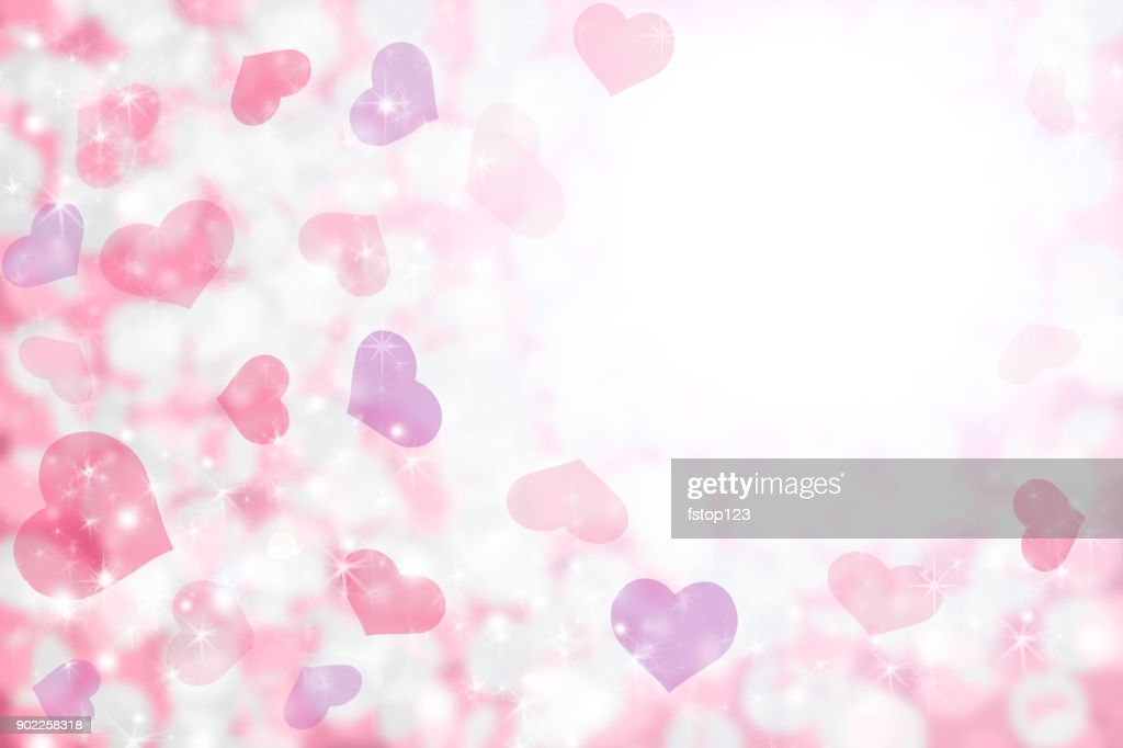 Happy Valentine's Day background of pastel pink, purple hearts and light. : stock illustration