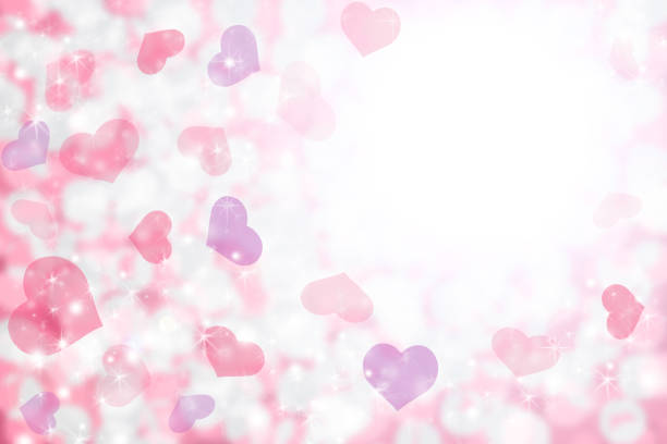 happy valentine's day background of pastel pink, purple hearts and light. - femininity stock illustrations