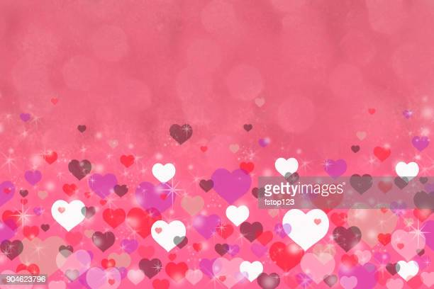 happy valentine's day background of pink, red hearts and sparkles. - hot pink stock illustrations