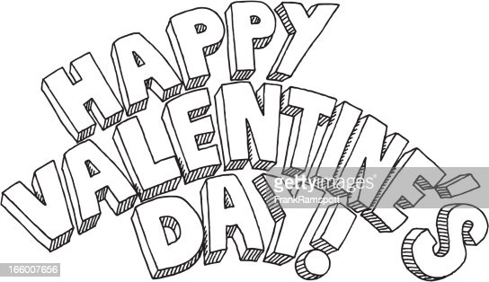 happy valentines day text drawing vector art getty images