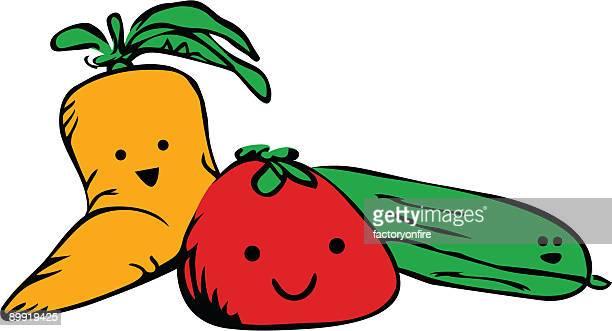 happy veggies - marrom stock illustrations