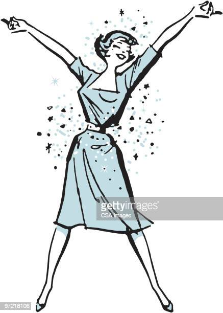 ilustrações, clipart, desenhos animados e ícones de happy woman - relief emotion