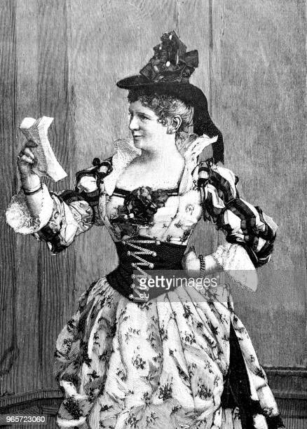 happy woman in bavarian costume reads a love letter - love letter stock illustrations, clip art, cartoons, & icons