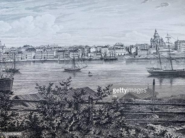 harbor and city of helsingfors, helsinki - helsinki stock illustrations, clip art, cartoons, & icons
