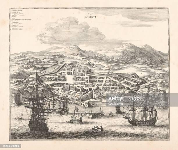 ilustrações, clipart, desenhos animados e ícones de porto e cidade de salvador da bahia no brasil 1671 - história