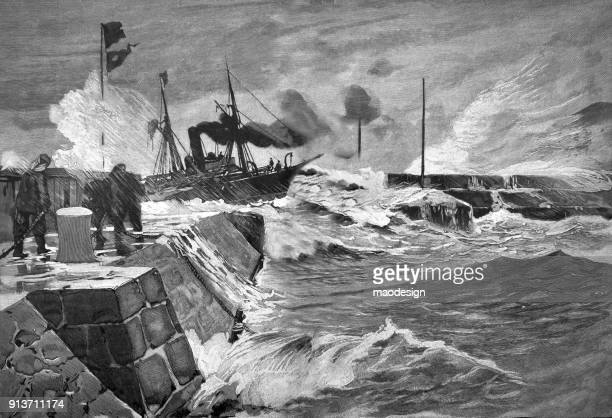harbor with a ship during storm - 1896 - hurricane stock illustrations, clip art, cartoons, & icons