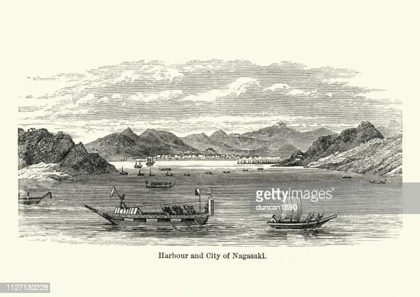 harbour and city of nagasaki, japan, 19th century - nagasaki city stock illustrations, clip art, cartoons, & icons