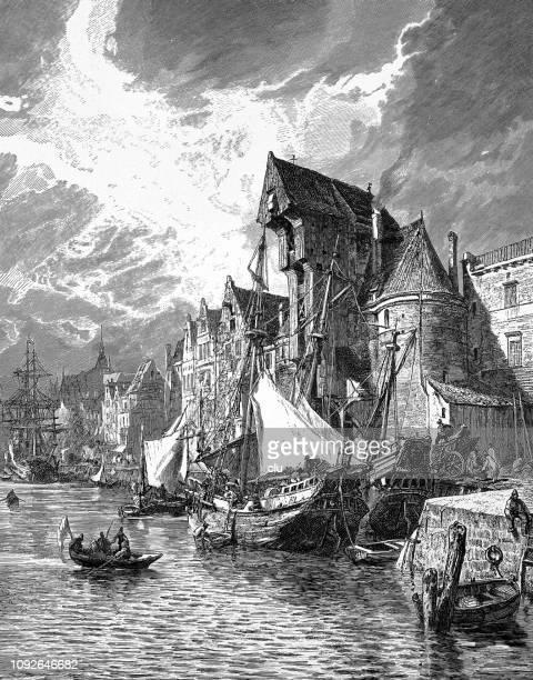 harbour in  danzig - gdansk stock illustrations
