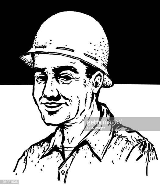 hard hat - army soldier stock illustrations