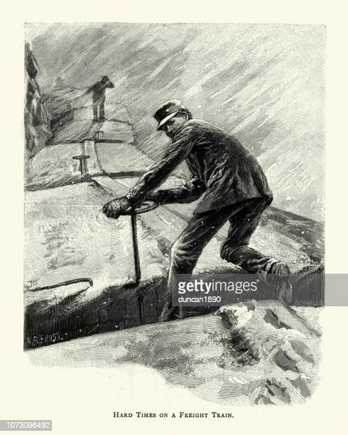 hard times on a freight train, usa, 19th century - rail freight stock illustrations, clip art, cartoons, & icons