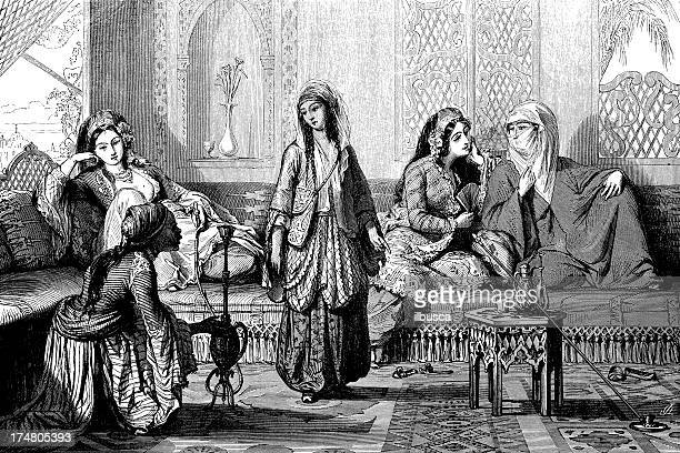 harem - iranian culture stock illustrations, clip art, cartoons, & icons