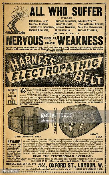 harness' electropathic belt - victorian ad - en búsqueda stock illustrations