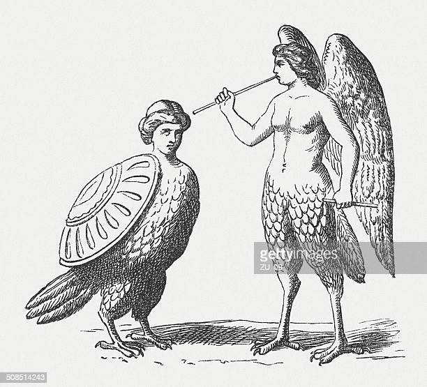 stockillustraties, clipart, cartoons en iconen met harpies, female monster, greek roman mythology, wood engraving, published 1878 - harpij arend