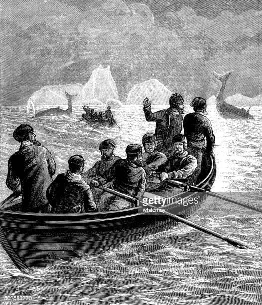 harpooning whales - bang boat stock illustrations