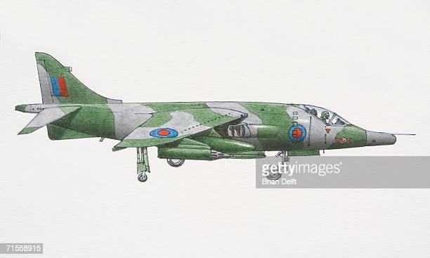 1969 harrier jump jet, side view. - 1969 stock illustrations