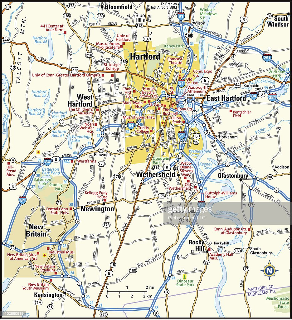Hartford Connecticut Area Map Vector Art | Getty Images