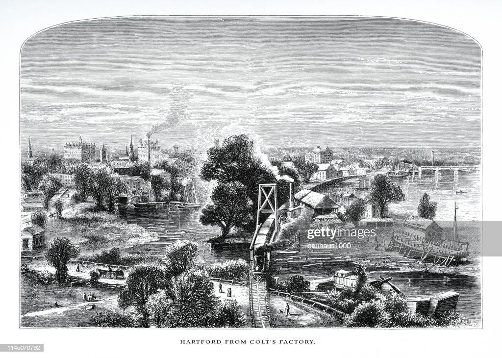 Colt の工場、コネチカット川、コネチカット州の谷、コネチカット州、アメリカ合衆国、ビクトリア朝の彫刻、1872 : ストックイラストレーション