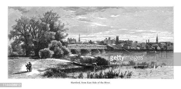 hartford from the east side of the connecticut river, valley of the connecticut, connecticut, united states, american victorian engraving, 1872 - connecticut river stock illustrations, clip art, cartoons, & icons