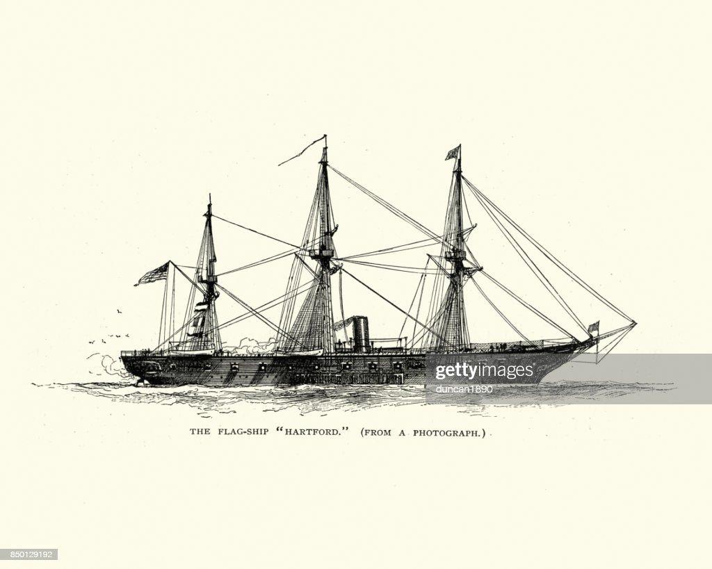 USS Hartford (1858) : stock illustration