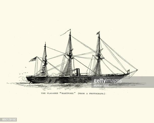 uss hartford (1858) - us navy stock illustrations, clip art, cartoons, & icons
