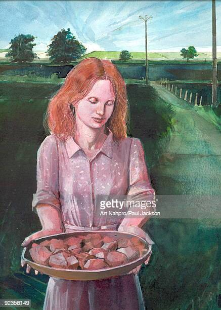 harvest - one young woman only stock illustrations