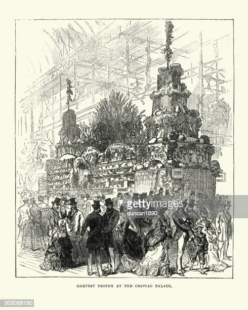 harvest trophy at the crystal palace, 1871 - great exhibition stock illustrations, clip art, cartoons, & icons
