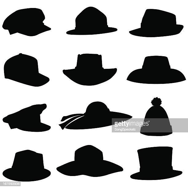 hat silhouettes - hat stock illustrations