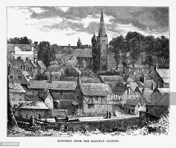 hatfield from the railway station, hertfordshire, england victorian engraving, 1840 - steeple stock illustrations, clip art, cartoons, & icons
