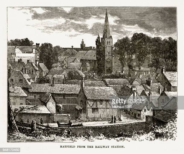 Hatfield From the Railway Station, Hertfordshire, England Victorian Engraving, 1840