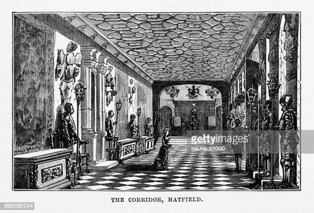 hatfield, the corridor, hatfield house, hertfordshire, england victorian engraving, 1840 - entrance hall stock illustrations, clip art, cartoons, & icons