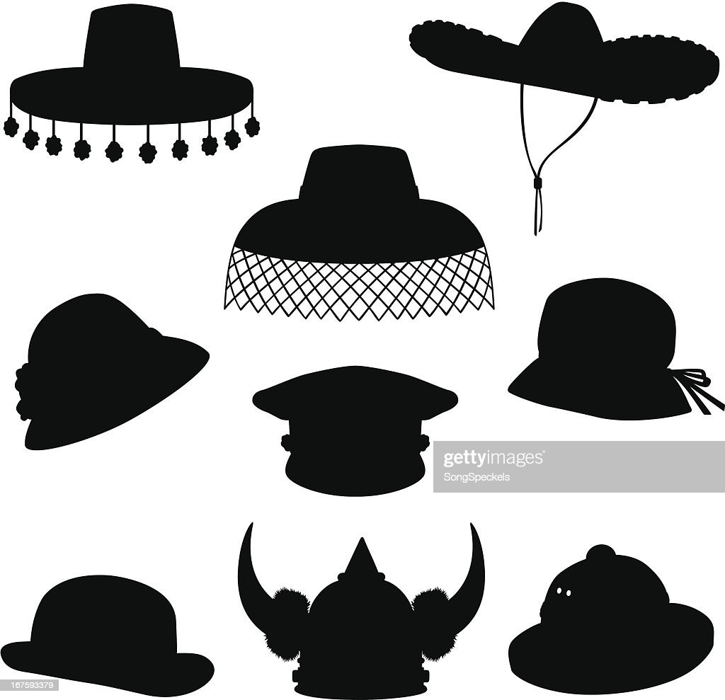 Hats Silhouettes : Stock Illustration