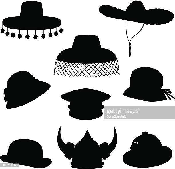 hats silhouettes - sombrero stock illustrations