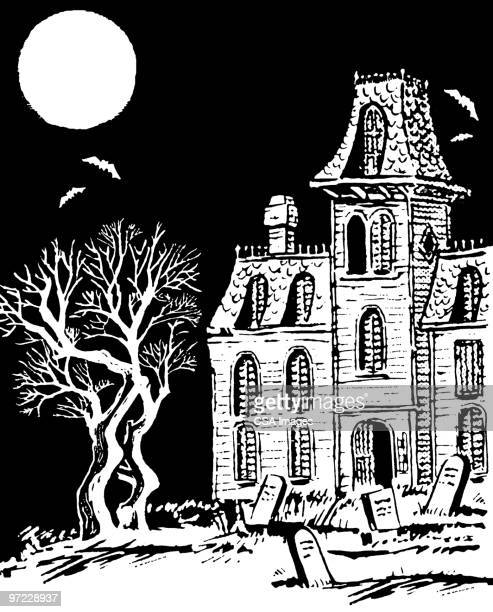 haunted house - horror stock illustrations