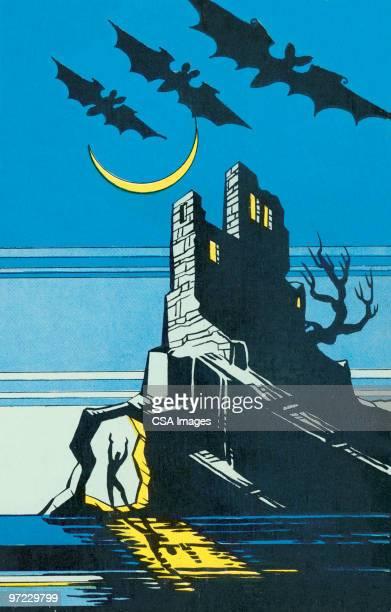 ilustraciones, imágenes clip art, dibujos animados e iconos de stock de embrujada house - vampiro