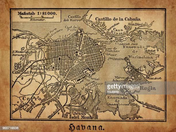 havana map from 1888 - havana stock illustrations