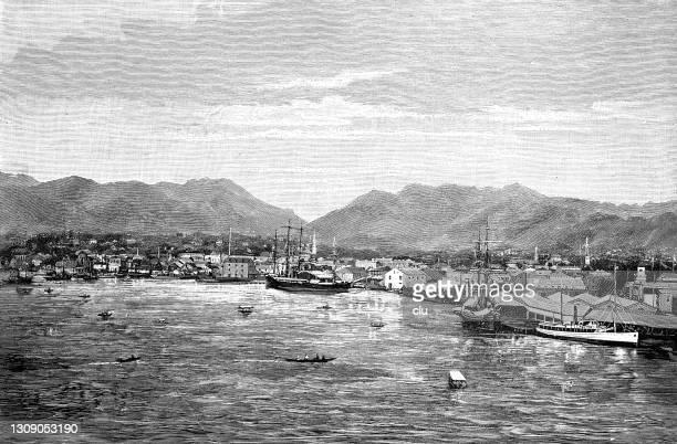 hawaii, honolulu harbor - honolulu stock illustrations