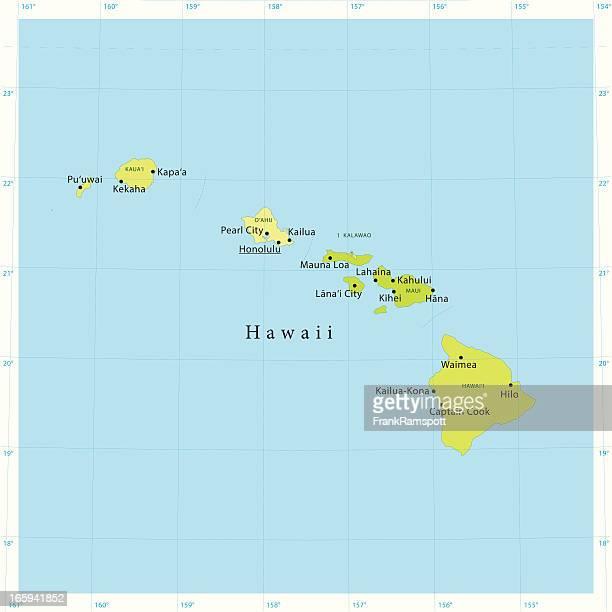 hawaii vector map - latitude stock illustrations