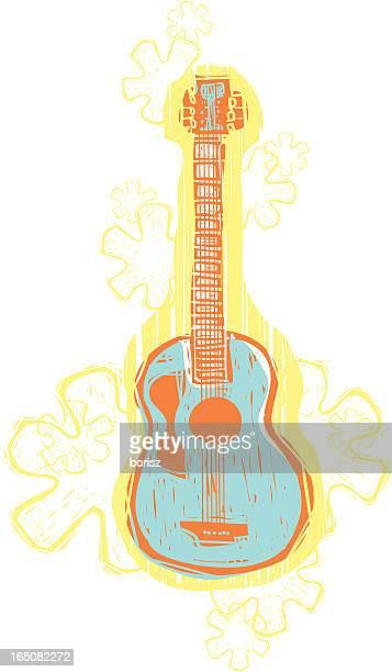 illustrazioni stock, clip art, cartoni animati e icone di tendenza di hawaiian chitarra - chitarra classica