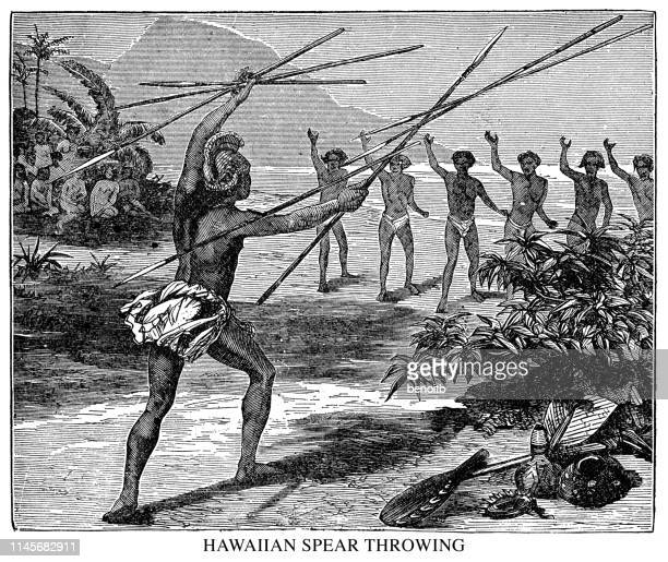 hawaiian spear throwing - hawaiian ethnicity stock illustrations, clip art, cartoons, & icons