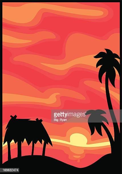 hawaiian sunset - grass hut stock illustrations