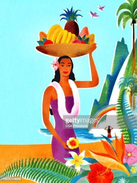 hawaiian woman with a fruit basket on her head - hawaiian waterfalls stock illustrations