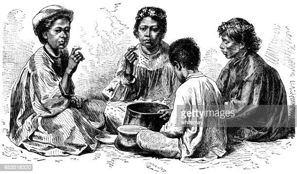 "hawaiians eating ""poi"" - victorian engraving - hawaiian ethnicity stock illustrations, clip art, cartoons, & icons"