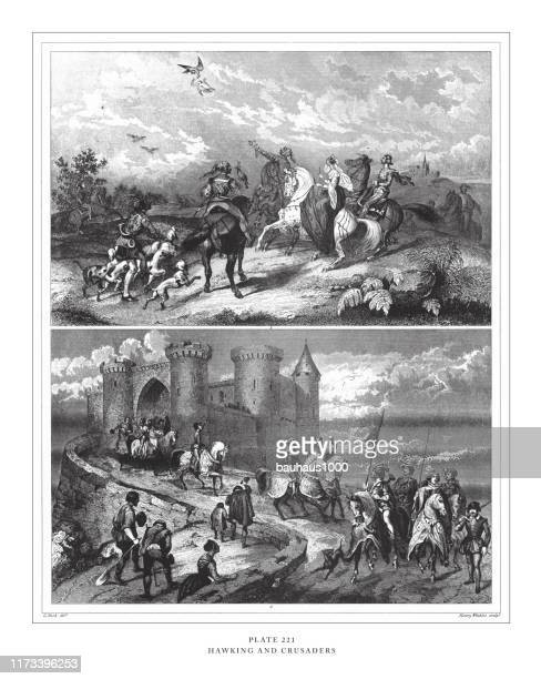 hawking and crusaders engraving antique illustration, published 1851 - falconry stock illustrations