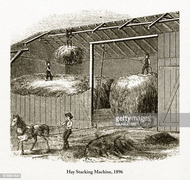 Hay Stacking Machine, Early American Engraving, 1896